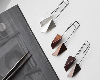 Geometric Copper Earrings, Geometric Silver Earrings, Triangle Dangle Earrings, Statement Earrings, Minimalist Earrings