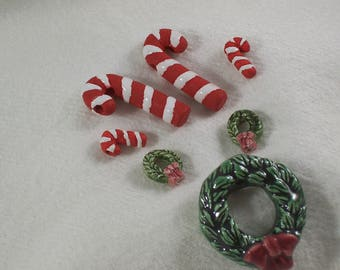 DESTASH! Christmas Beads for Earrings and Necklace, 2 Sets, Wreaths and Candy Canes by ceeceedesigns on etsy
