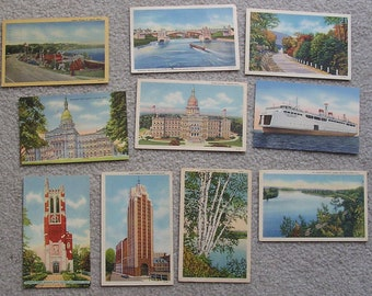 10 Assorted Linen Postcards of MI, Scenic, Fair to Very Good Condition