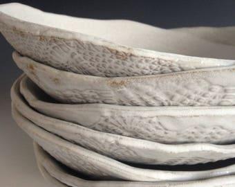 Reserved for KAREN - Ceramic white plates -set of 4-  Tableware Pasta BOWLS dinnerware - dinner plates wedding gifts