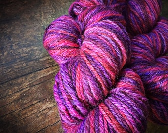 Handspun yarn - light worsted weight wool, hand spun wool, pink, purple, variegated yarn, yarn shop