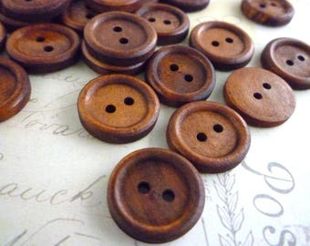Round Wooden Buttons, 18mm - Dark Coffee Coloured -  Pack of 20