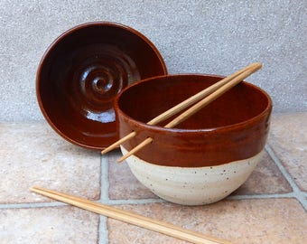 Pair of large noodle or rice serving bowl hand thrown stoneware pottery ceramic wheelthrown handmade