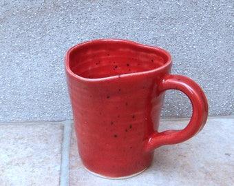 Coffee mug tea cup heart shape rim handthrown in stoneware pottery ceramic handmade wheel thrown valentine