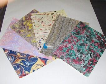 pack 12, hand  marbled paper,, マーブル紙,   scrapbook paper -  cm 25 x 17,5  -  6007