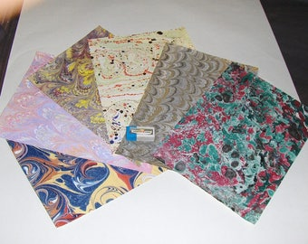 pack 12, hand  marbled paper,, マーブル紙,   scrapbook paper -  cm 25 x 17,5  -  6007
