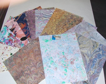 pack 12, hand  marbled paper,, マーブル紙,   scrapbook paper -  cm 25 x 17,5  -  6019