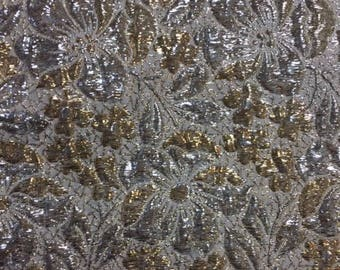 60s GORGEOUS Holiday Floral//Brocade Metallic Fabric//Vintage Silver & Gold Lame'//Mod Retro Dress/Blouse/Coat/Jkt  Fabric