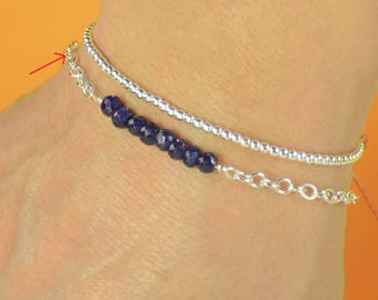 Sapphire with Sterling silver chain bracelet