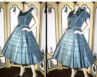 ON SALE 50's Dress Worn to JFK Inauguration in 1961. Steel Blue Taffeta with Belt and Bolero.  Small to Medium.