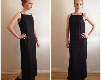 SPRING SALE 90s Linen Dress, Black Maxi Dress, Black Linen, Halter Dress, Minimalist, Sleeveless Dress, Grunge, Goth, Racer Back Dress, Norm