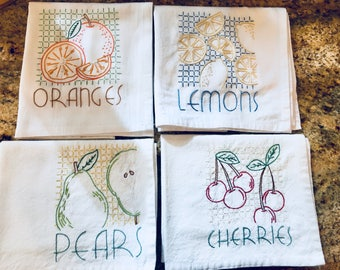 Set of Hand Embroidered Kitchen Dish Towels - Fruit