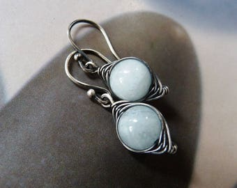 Aquamarine silver earrings, wire wrapped earrings, handmade, 20th birthday gift, 30th, 40th, 50th, gift for women, for sister, blue gem