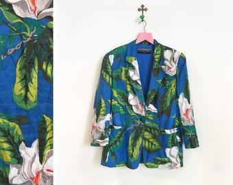 Vintage 1980s Oversized Tropical Floral Blazer Size M-L