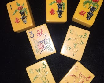 7 Vintage Bakelite Mahjong Flower Tiles