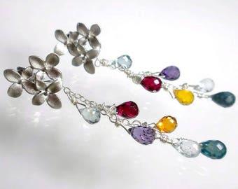 Multicolor Earrings Cascade Earrings Quartz Drop Earring Stud Post Earring Quartz Briolette Earring Multi Color Sale
