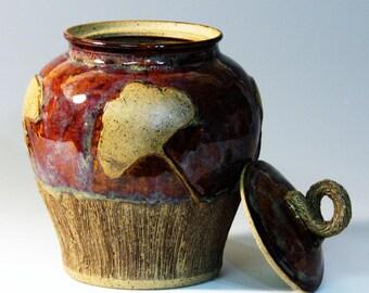 Lidded Jar/ Ginger Jar/ Kitchen Canister/ Candy Jar/ Pet Snacks/ Pet Urn/Ginkgo jar