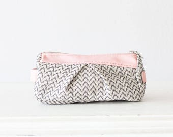 Offwhite patterned cotton with baby pink leather makeup bag, accessory case toiletry storage pencil case bridesmaids gift - Estia Bag