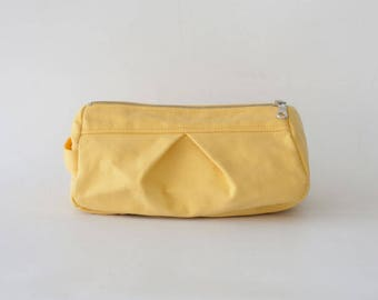 Makeup bag in yellow canvas, toiletry case cosmetic storage case accessory bag in cotton canvas - Estia Bag