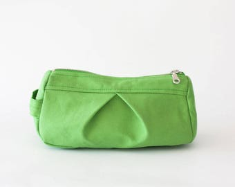 Makeup bag in light green canvas, toiletry case cosmetic storage pencil case accessory bag in cotton canvas - Estia Bag
