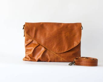 Oversized clutch purse in brown leather, woman envelope clutch crossbody bag handbag - Erato clutch