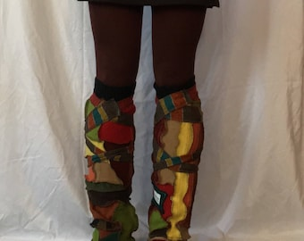 Autumn leaves3 soft warm wool legwarmers bootcovers upcycled ooak