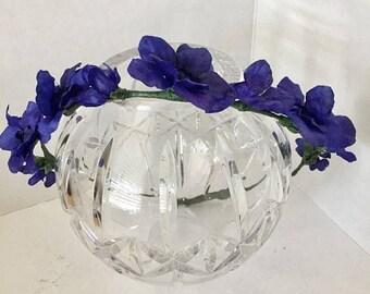 ON SALE Cobalt Blue Flower Crown, Fabric Flower Wreath, Hair Accessory, Circlet, Wedding, Fairy Crown, Bridal Party, Fairy headband