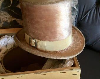 Very Rare Blush Beaver Top Hat ca 1830 English Women's Rhinestone Buckle