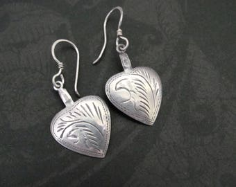 Vintage Heart Sterling Silver Earrings, Etched Sterling, Dangle Pierced Earrings, Oxidized Sterling Silver