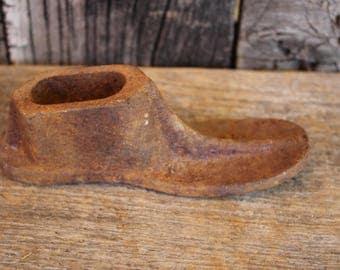 Vintage Cast Iron Child Cobbler Shoe Mold - Heavy Cast Iron Shoe Forms for Shoemaker - Home Decor - Man Sized - Large Antique Shoe Form