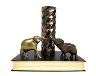 Vintage Brass Elephant Pair, Trunks Up, Dark and Light