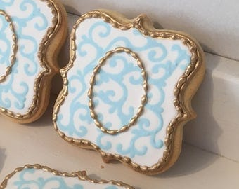 Custom Gold Monogram damask cookies - 1 dozen
