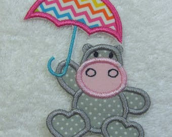 Hippo Fabric Embroidered Iron On Applique Patch Ready to Ship