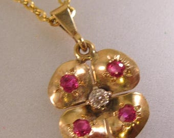 """SHIPS 6/26 w/FREE Jewelry Antique Estate 10k Rose Gold Ruby & Rose Cut Diamond Clover Flower Pendant with 20"""" 9k Gold Chain"""