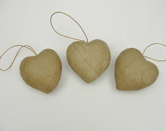 Paper mache puffy heart set of 3