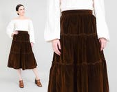 70s Brown Velvet Skirt | Cotton Velveteen Skirt Boho Hippie Tiered Skirt High Waisted Full Midi Skirt Fall Winter | Womens Small S 26 waist