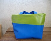 Upcycled Recycled Reusable Rainbow Vinyl Banner Small Lunch Tote Bag Purse