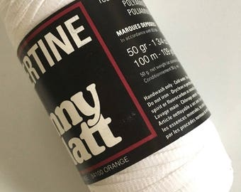 Anny Blatt Libertine #050 Blanc White Ribbon Yarn Nylon 50 Gram 109 Yards