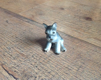 Vintage Little Grey Dog Figurine , Schnauzer Type Miniature Dog Figure