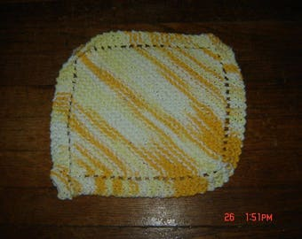 Hand Knit Dishcloth 100% Cotton Homemade Washcloth Yellow/White variegated