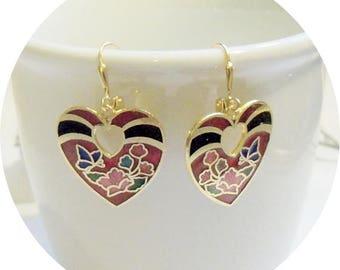 Black and Red Earrings, Vintage Earrings, Gold Vintage Earrings, Vintage Dangle Earrings, Retro Earrings, Red and Black Earrings