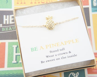 Gold pineapple bracelet, be a pineapple, gift for women, tropical, Hawaiian, fruit, stand tall, wear a crown and be sweet on the inside
