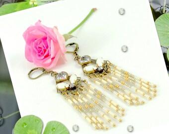 Art deco earrings, crystal swarovski cabochon, white, golden tone, brass filigrees, vintage style