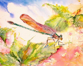 dragonfly garden giclee from original watercolor painting, dragonfly art,janice trane jones, wall decor,home decor, 8 x 10 print, insect art