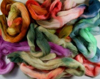 Mixed Fiber Bag #2 for spinning and felting (4 ounces), assorted wool top