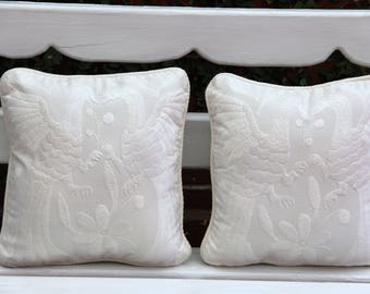 Pair of white and ecru  Otomi Sham backed and piped with handwoven artisan rustic eco textiles