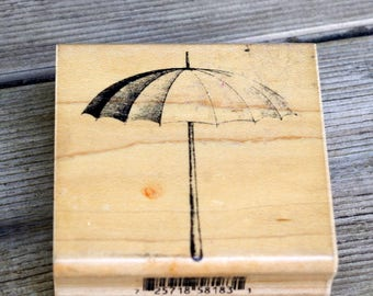 Wood Mounted Rubber Stamp Inky After Dark Umbrella