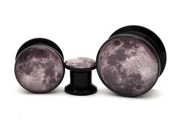 Black Acrylic Full Moon Picture Plugs gauges - 8g, 6g, 4g, 2g, 0g, 00g, 7/16, 1/2, 9/16, 5/8, 3/4, 7/8, 1 inch