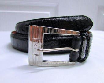 Vintage Ralph Lauren Black Moc Croc Embossed Genuine Leather Belt Size Large