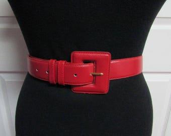 Toledo Vintage Red Genuine Leather Belt Size Large